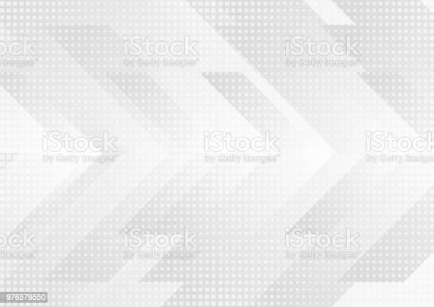 Grey And White Tech Arrows Abstract Background - Arte vetorial de stock e mais imagens de Abstrato