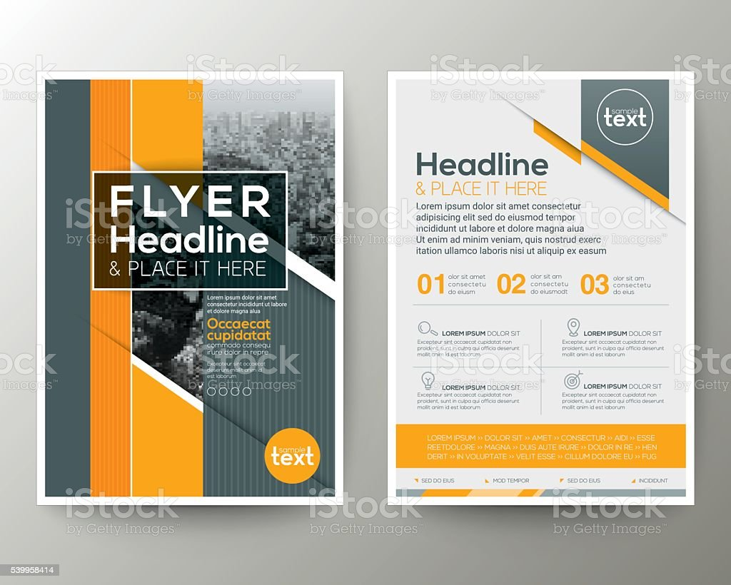 Grey and Yellow Geometric background Poster Brochure Flyer leaflet vector art illustration