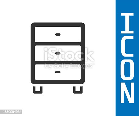 istock Grey Archive papers drawer icon isolated on white background. Drawer with documents. File cabinet drawer. Office furniture. Vector 1330094934