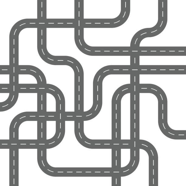 illustrations, cliparts, dessins animés et icônes de routes d'asphalte gris en béton rues de spaghetti - rond point