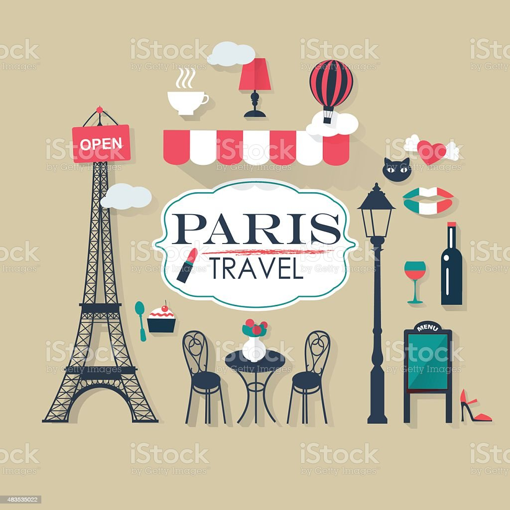 grey background Paris tourist concept image. Flat vector french icons. vector art illustration