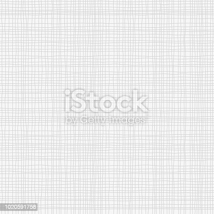 istock Grey canvas burlap texture, seamless checkered pattern. Gray Linen fabric textile. Vector background 1020591758