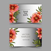 Grey card peony of the flower vector. Wedding background card floral decorative border. Thank you, rsvp, invitation elegant card illustration graphic set banner.