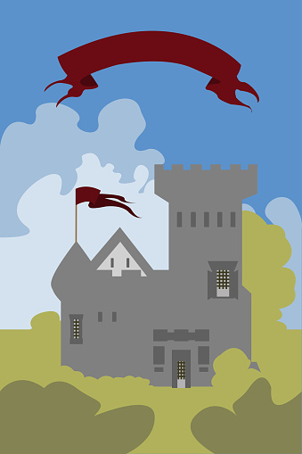 A grey castle amid a cloudy blue sky among green bushes. Flat illustration. Vector tower with flag. Cover for the book. A children's tale. Little palace. Fairy tale house.