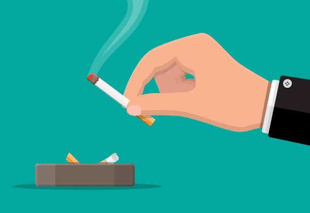 Grauer Keramikaschenbecher voller Rauchzigaretten. – Vektorgrafik