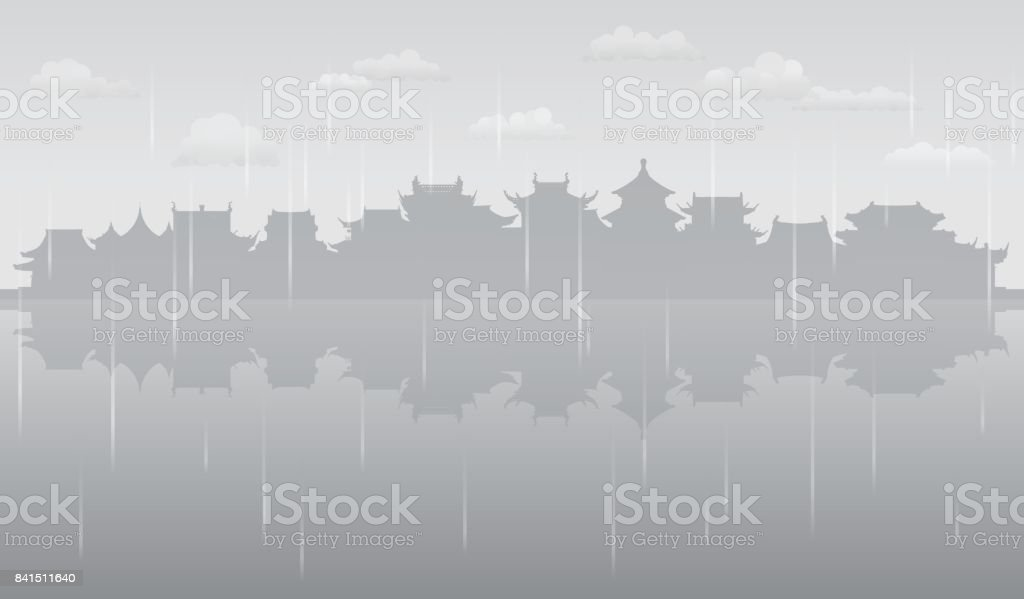 Grey China (All Buildings are Complete and Moveable) vector art illustration