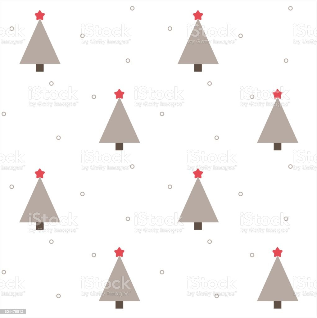 grey christmas trees with red stars holiday seamless vector pattern background illustration vector art illustration
