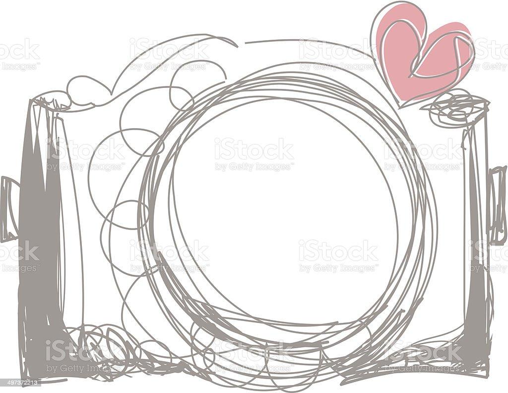 grey color doodle camera illustration with love heart向量藝術插圖