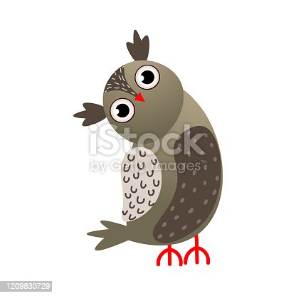 Grey color owl bird with red beak looking on side . Cartoon style. Vector illustration on white background