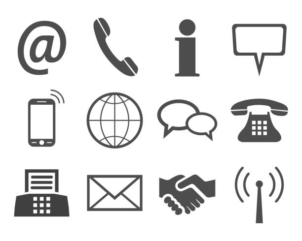 Royalty free phone fax email icons background clip art vector grey contact icons stock vector vector art illustration sciox Gallery