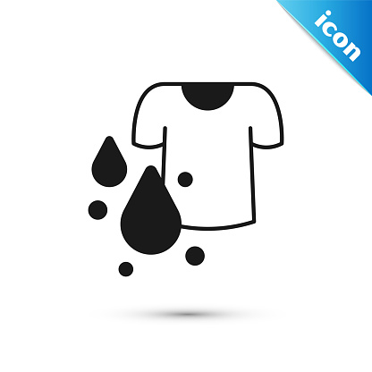 Grey Dirty t-shirt icon isolated on white background. Vector