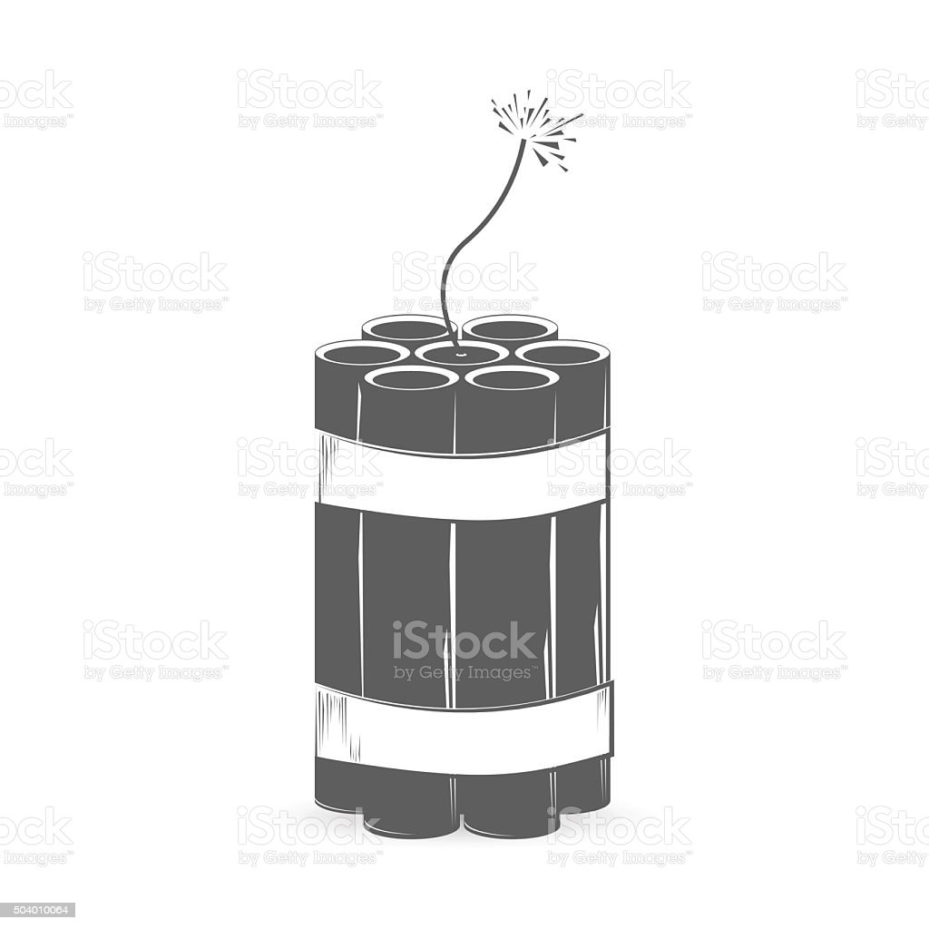 Grey dynamite bomb vector art illustration