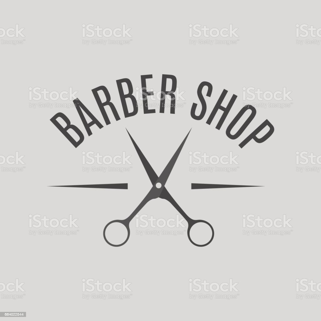 Grey emblem barber shop, vector illustration. vector art illustration