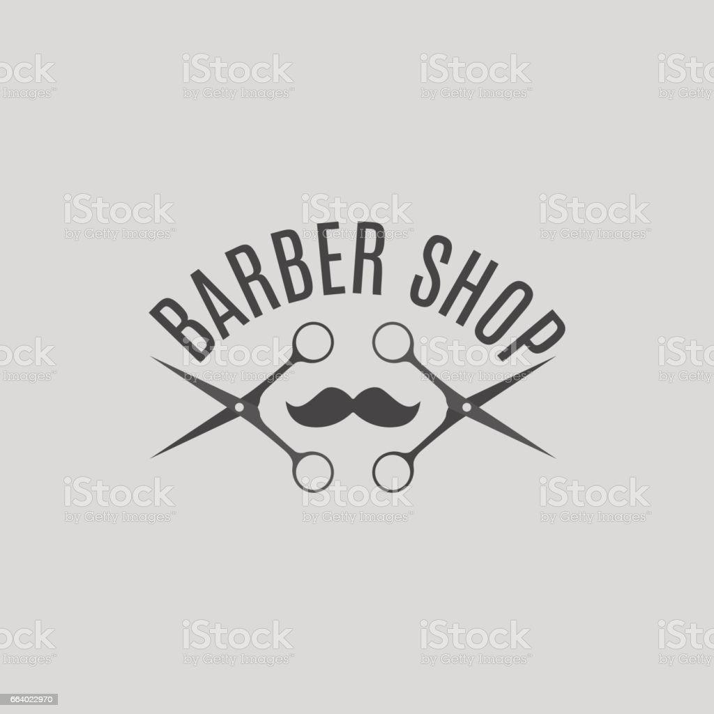 Grey emblem barber shop, vector illustration. vector art illustration