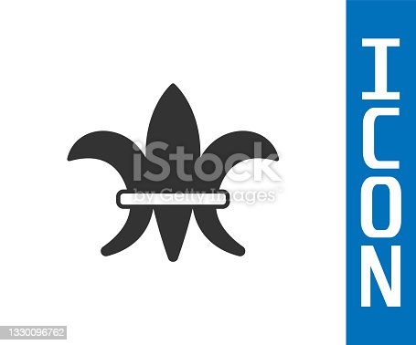 istock Grey Fleur De Lys icon isolated on white background. Vector 1330096762
