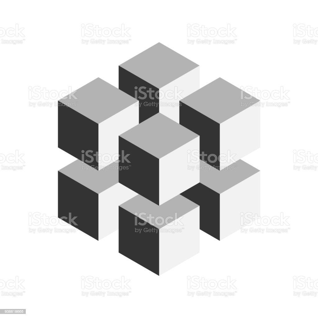 Ilustración de Cubo Geométrico Gris De 8 Cubos Más Pequeños De ...