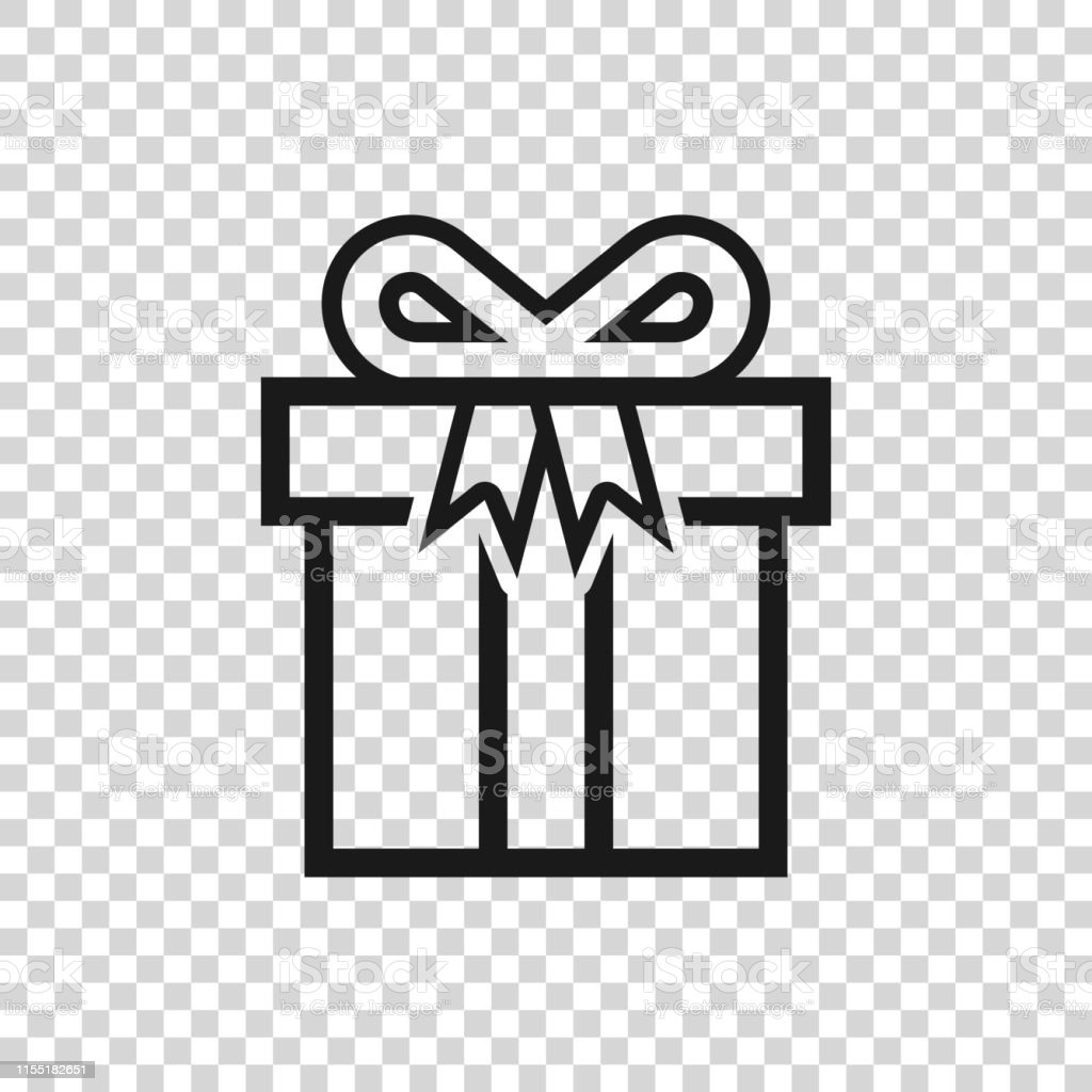 Grey Gift box icon isolated on transparent background. Vector...