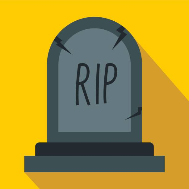 grey grave icon in flat style - tombstone stock illustrations, clip art, cartoons, & icons