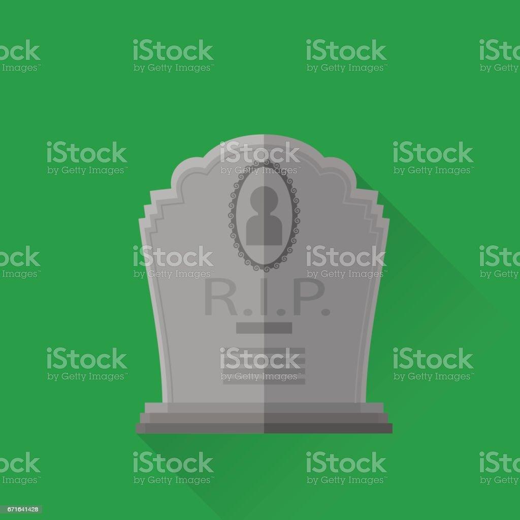 Grey Gravestone Isolated on Green Background vector art illustration