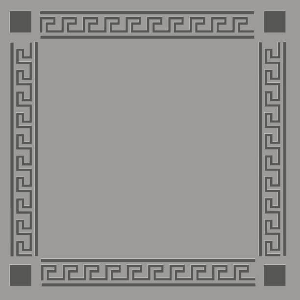 Grey Greek Frame vector art illustration