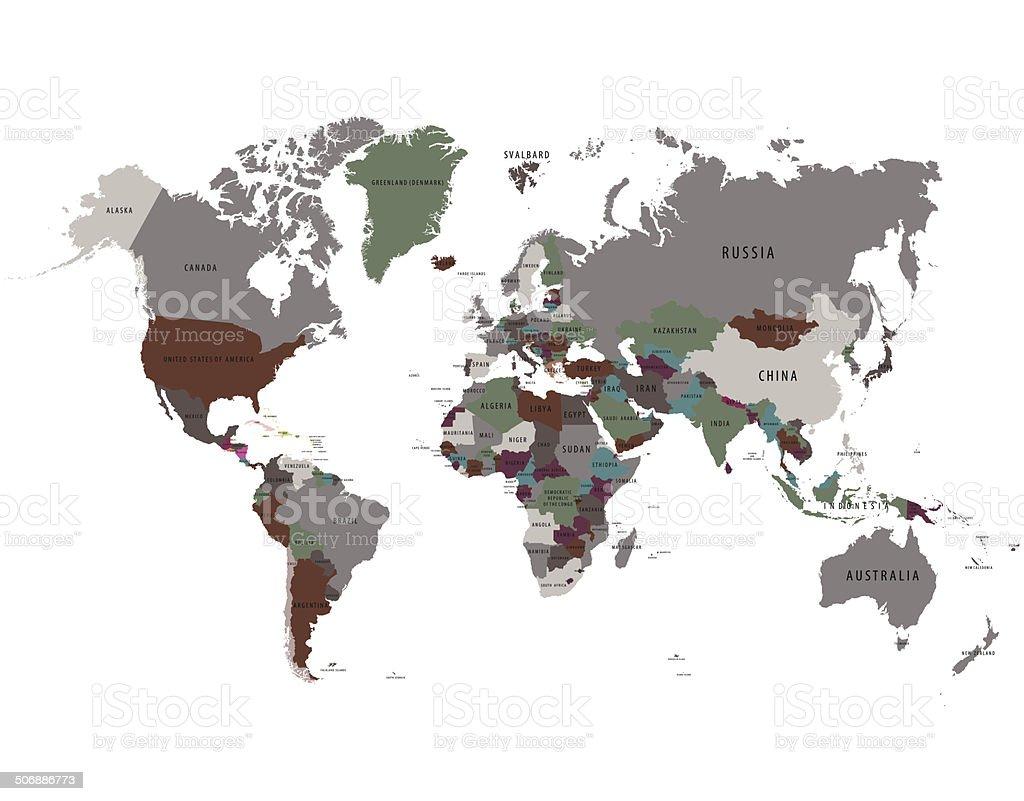 Grey ,green ,brown map world vector art illustration