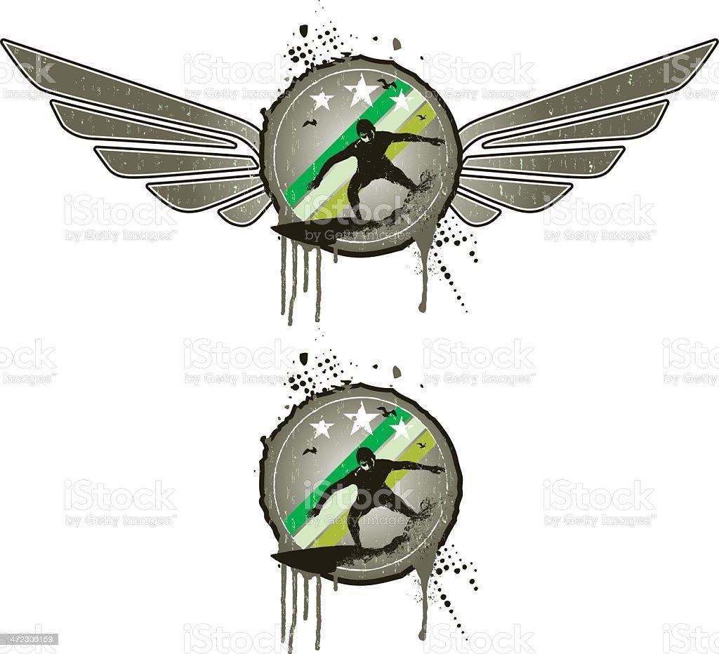 grey grunge shield with surf rider vector art illustration