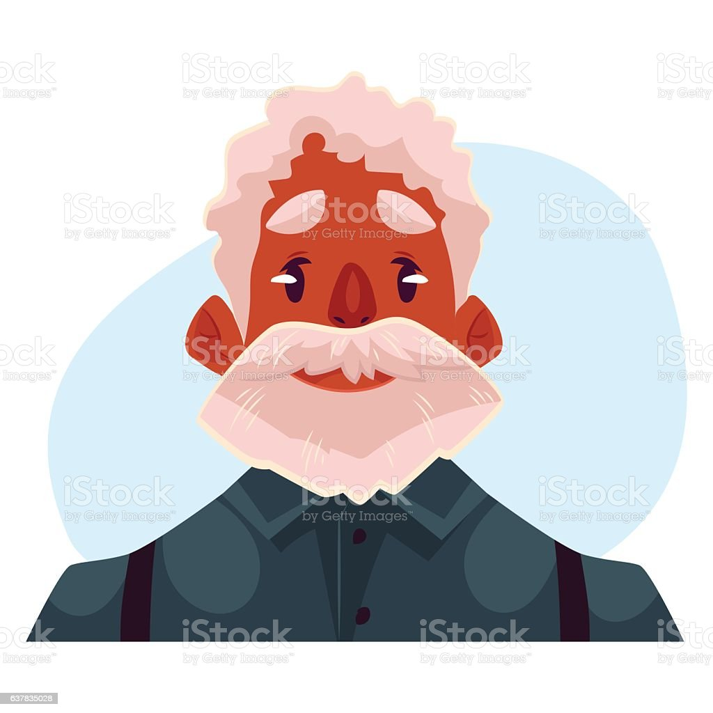 Grey haired old african man face, neutral facial expression vector art illustration