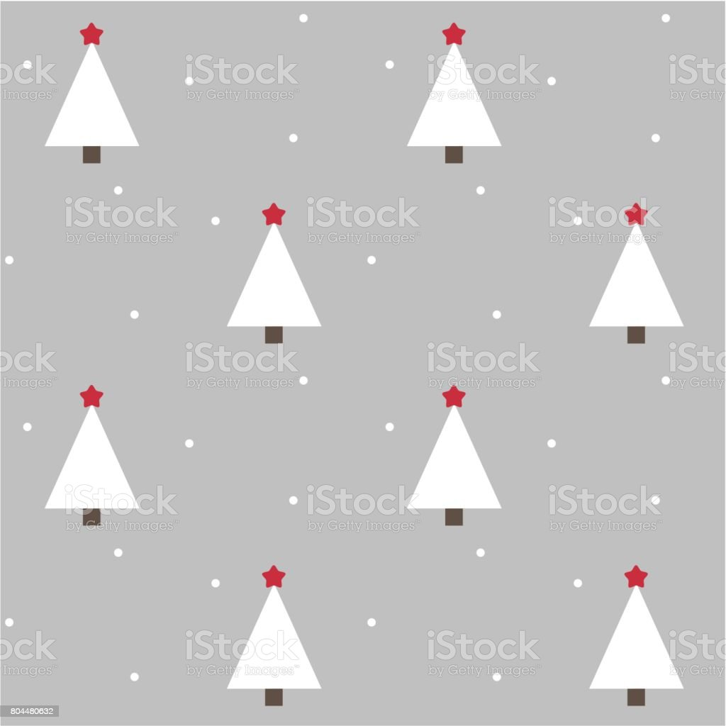 grey holiday seamless vector pattern background illustration with christmas trees and red stars vector art illustration