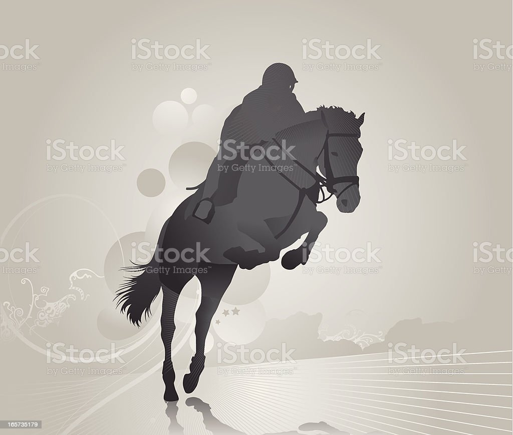 Grey image of a jockey on a jumping horse on abstract land royalty-free stock vector art