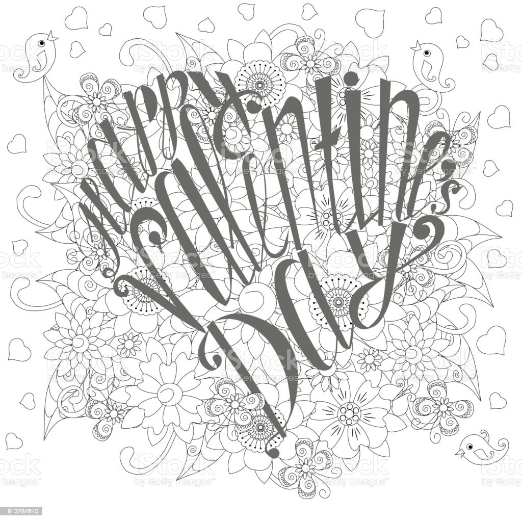 Grey Lettering Heart Figure Happy Valentines Day On White Floral