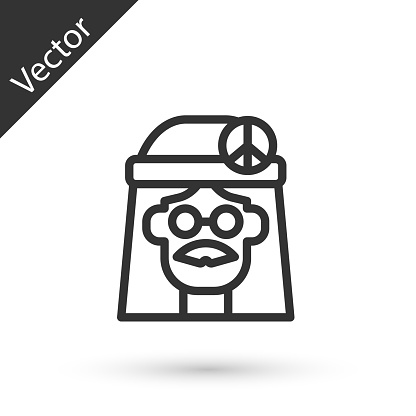 Grey line Hippie girl icon isolated on white background. Peace and love sign. Symbol pacificism freedom and love. Vector