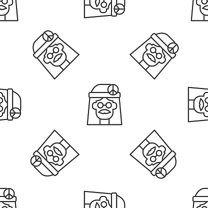 Grey line Hippie girl icon isolated seamless pattern on white background. Peace and love sign. Symbol pacificism freedom and love. Vector