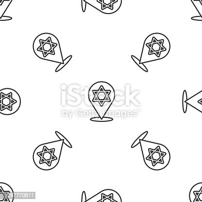 istock Grey line Star of David icon isolated seamless pattern on white background. Jewish religion symbol. Symbol of Israel. Vector 1297770511