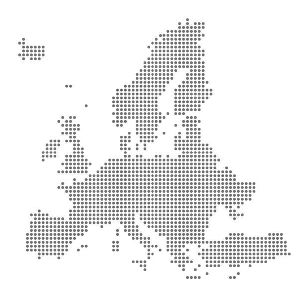bildbanksillustrationer, clip art samt tecknat material och ikoner med grå karta europa i pricken. vektorillustration - europa