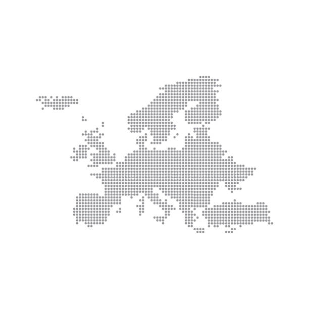 grey map europe in the dot. vector illustration - avrupa stock illustrations