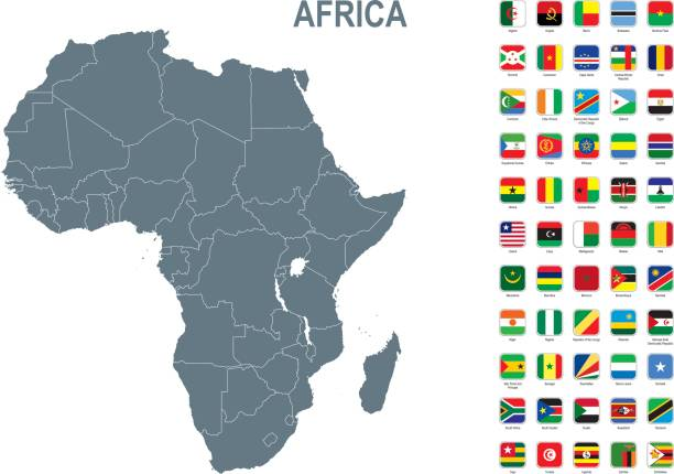 graue karte von afrika mit flagge vor weißem hintergrund - kamerun stock-grafiken, -clipart, -cartoons und -symbole