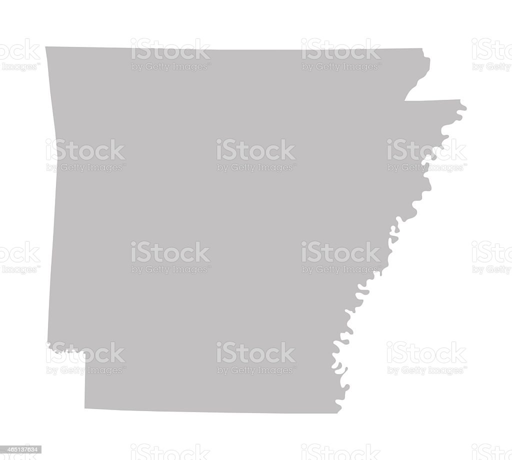 grey map of Arkansas vector art illustration