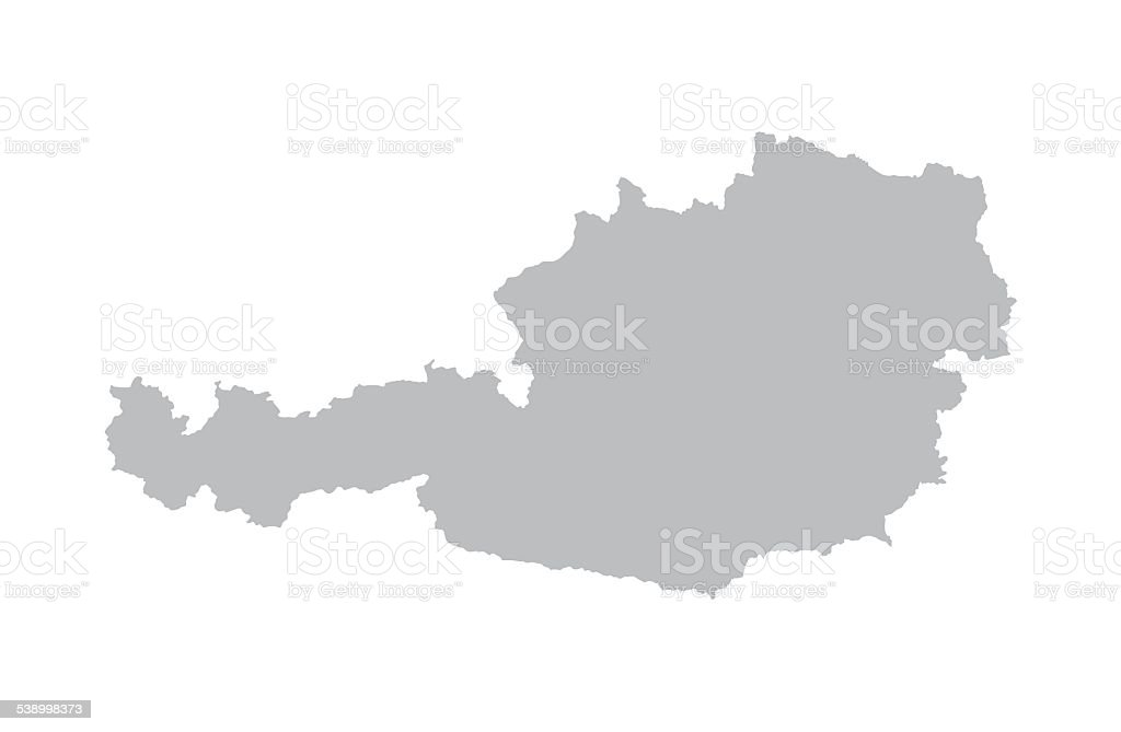 grey map of Austria vector art illustration