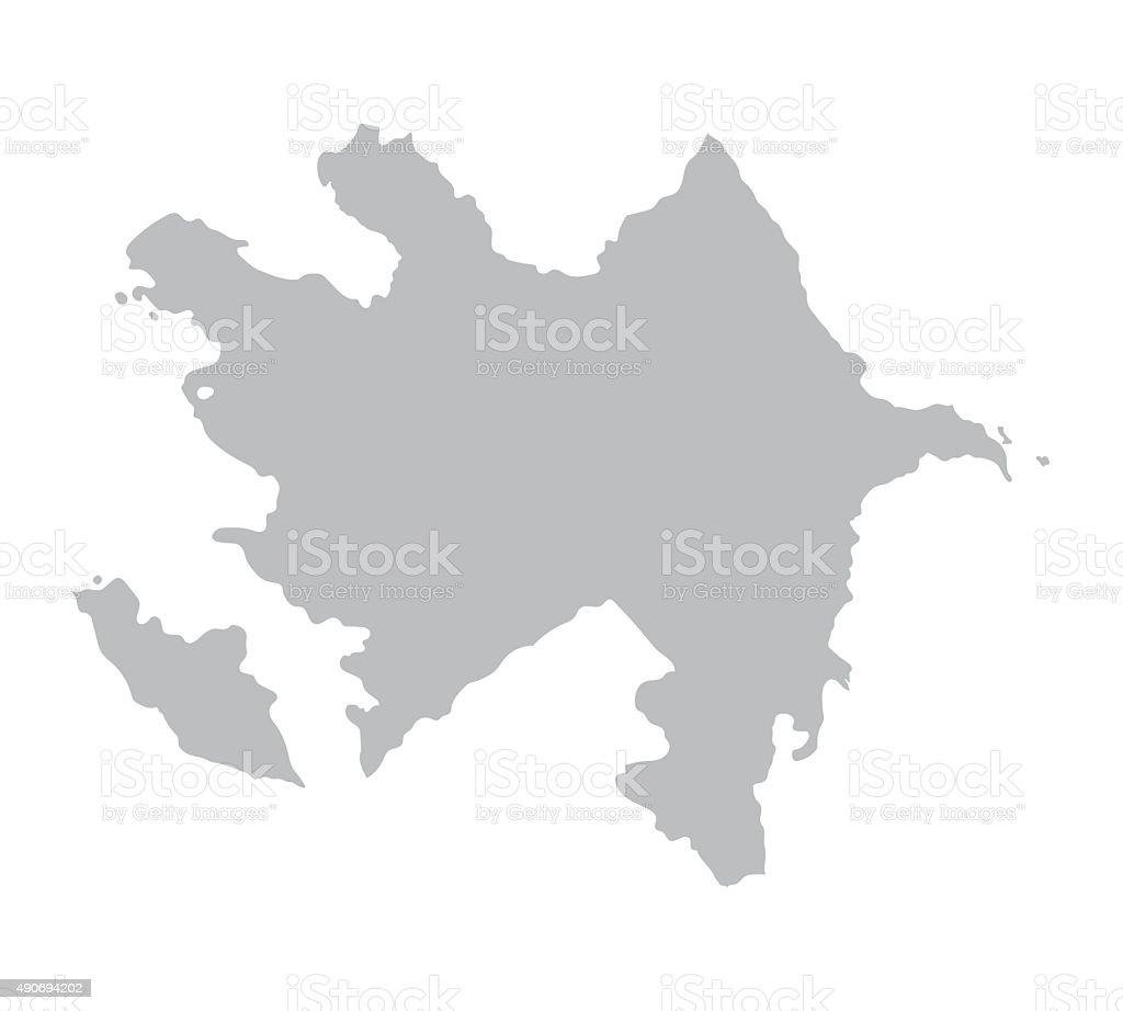 grey map of Azerbaijan vector art illustration
