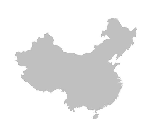 grey map of China detailed vector map of China china stock illustrations
