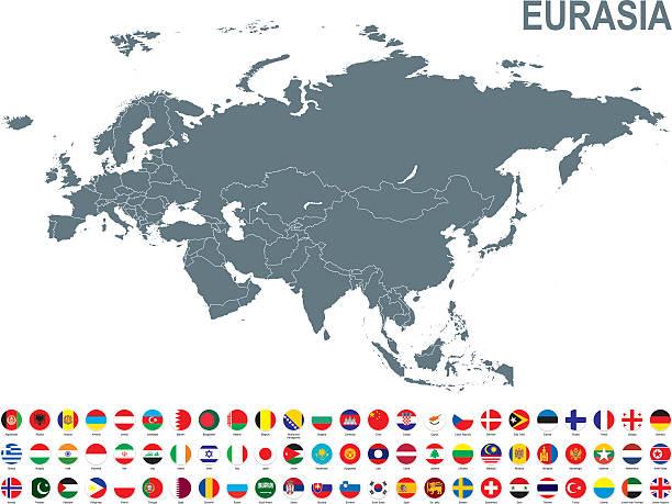 Grey map of Eurasia with flag against white background – Vektorgrafik