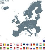 Grey map of European Union with flag against white background. The url of the reference to political map is: http://www.lib.utexas.edu/maps/europe/europe_pol_2012.pdf