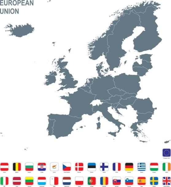Graue Karte der Europäischen Union mit Flagge vor weißem Hintergrund – Vektorgrafik