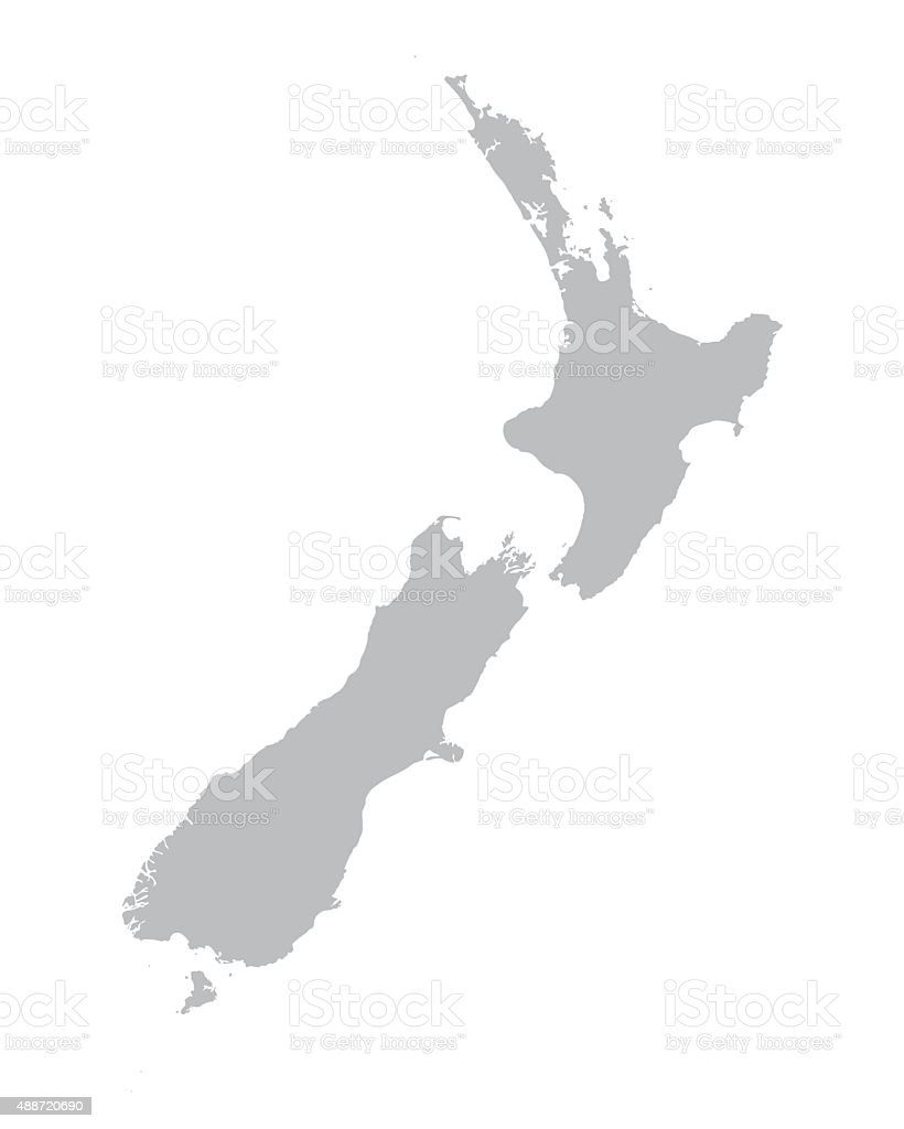 grey map of New Zealand vector art illustration