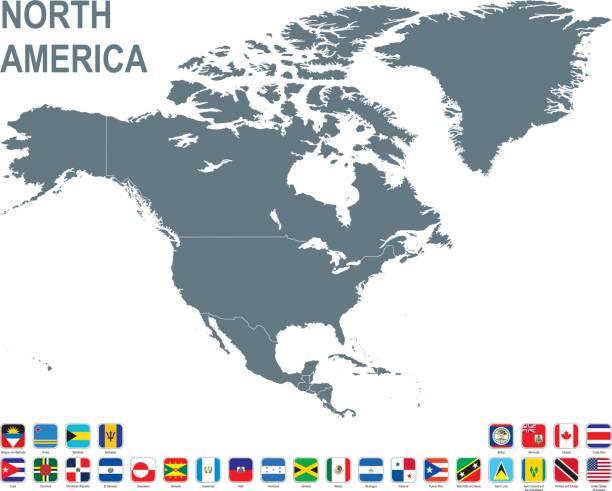 Mapa gris de América del norte con bandera sobre fondo blanco - ilustración de arte vectorial