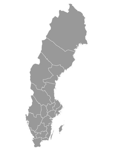 bildbanksillustrationer, clip art samt tecknat material och ikoner med grå karta över sveriges regioner - sweden map