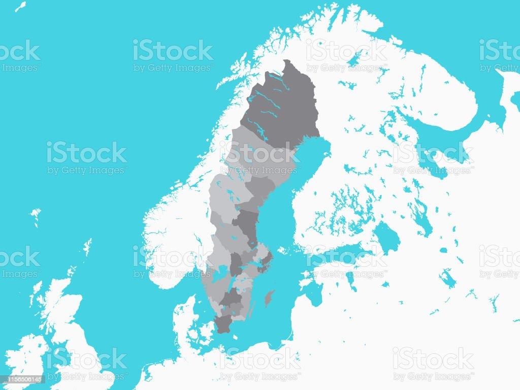 Schweden Karte Regionen.Graue Karte Der Regionen Schwedens Mit Surrounding Terrain