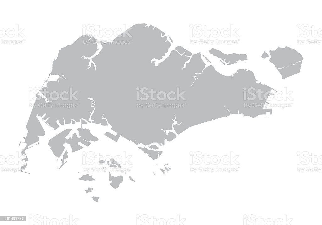 grey map of Singapore vector art illustration