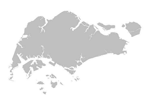 stockillustraties, clipart, cartoons en iconen met grey map of singapore - singapore