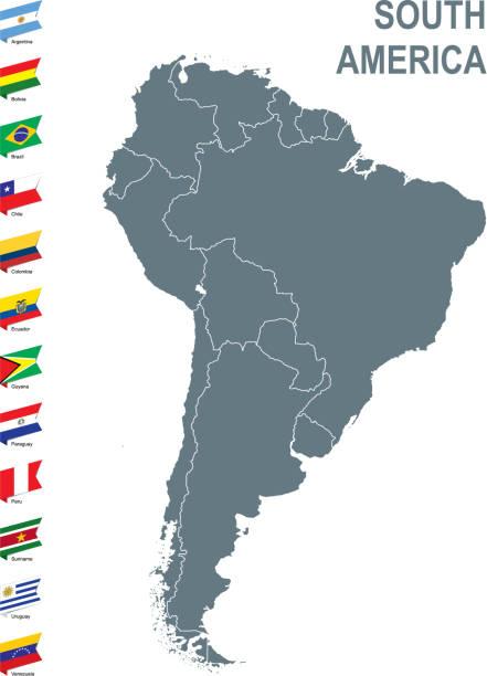stockillustraties, clipart, cartoons en iconen met grijze kaart van zuid-amerika met vlag tegen witte achtergrond - colombia land